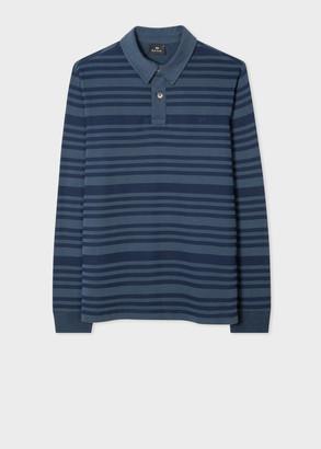 Paul Smith Men's Navy Stripe Long-Sleeve Organic-Cotton Polo Shirt