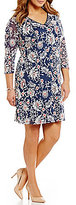 Adrianna Papell Plus Long-Sleeve Floral Shift Dress