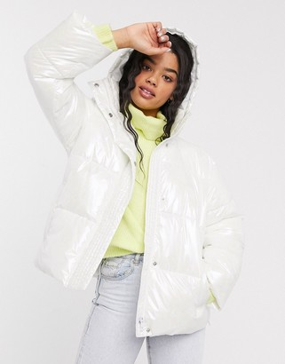 Asos Design DESIGN marble effect puffer jacket in white