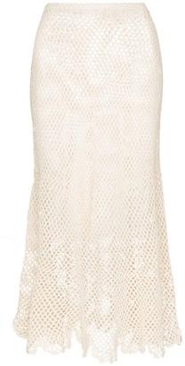 Peony Swimwear Crochet Open-Knit Midi Skirt