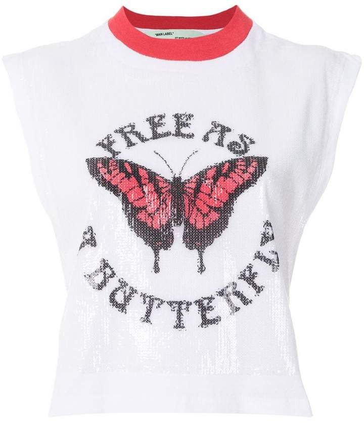 Off-White butterfly gym tank top