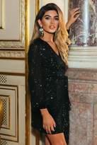 Quiz Sam Faiers Black Sequin Wrap Tie Belt Dress