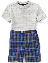 Nautica Little Boys 2T-7 Short-Sleeve Henley Tee and Plaid Shorts Set