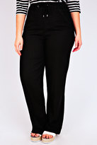"""Yours Clothing Black Linen Mix Full Length Trousers With Four Pockets 30"""""""