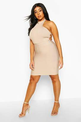 boohoo Plus Sculpting Cut Out High Neck Bandage Dress