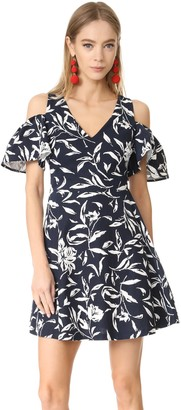 J.o.a. Women's Flower Print Cold Shoulder Dress
