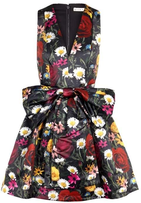 Alice + Olivia Daralee Floral-print Satin Mini Dress