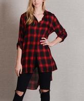 Paparazzi Black & Red Plaid Side-Slit Button-Up Tunic