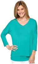 Tribal 3/4 Sleeve V-Neck Jersey Layer Top Women's Long Sleeve Pullover