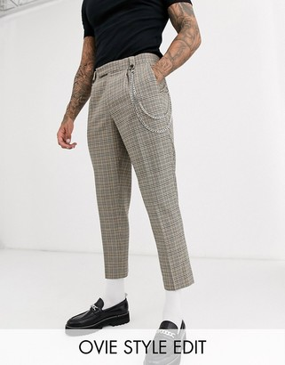 ASOS DESIGN slim crop smart trousers in grey wool mix check with chain