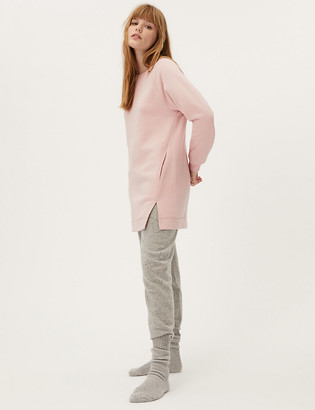 Marks and Spencer Cotton Crew Neck Longline Sweatshirt