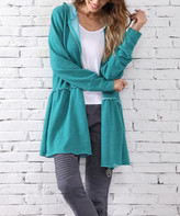 Z Avenue Women's Non-Denim Casual Jackets Teal - Teal Tiered-Back Zip-Up Hoodie - Women & Plus