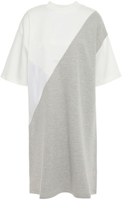Clu Paneled Lame, Woven And French Cotton-terry Mini Dress