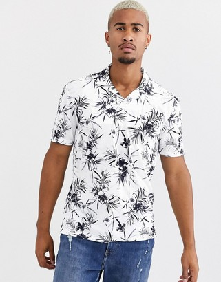 ONLY & SONS revere collar palm print t-shirt in white