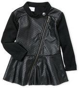 kardashian kids (Infant Girls) Faux Leather Asymmetrical Zip Jacket