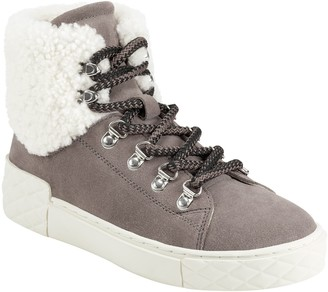 Marc Fisher Davie Water Resistant Lace-Up Sneaker with Faux Fur Trim