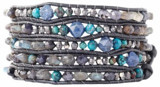 Chan Luu Iolite Mix of Semi Precious Stones and Crystals Leather Wrap Bracelet