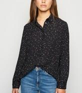 New Look Petite Spot Long Sleeve Chiffon Shirt