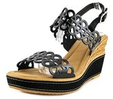 Azura Nicola Women Open Toe Patent Leather Black Wedge Sandal.