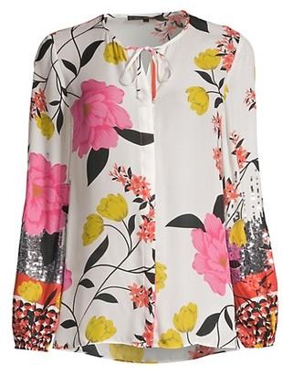 Kobi Halperin Noelle Stretch-Silk Floral Blouse