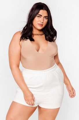 Nasty Gal Womens Need You Now Plus Jogger Shorts - Cream