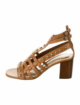 Saint Laurent Leather Studded Accents Gladiator Sandals w/ Tags Brown