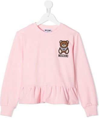 MOSCHINO BAMBINO Teddy logo peplum-hem sweatshirt