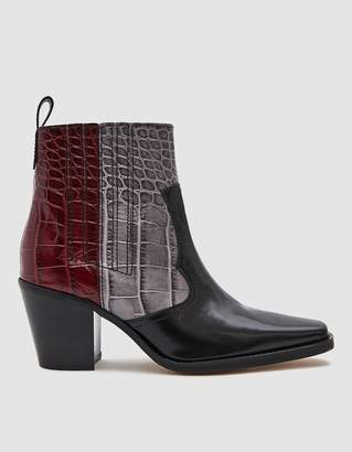 Ganni Western Leather Boot in Mixed Port Royal