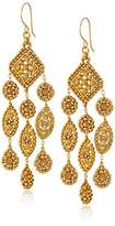 Miguel Ases Gold Marquise and Circle Triple Drop Swarovski Chandelier Earrings