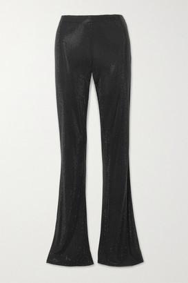 Versace Swarovski Crystal-embellished Stretch-crepe Flared Pants - Black