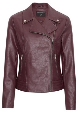 Dorothy Perkins Womens Berry Pu Biker Jacket