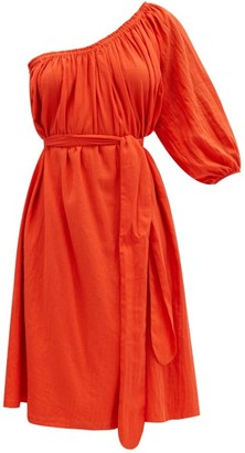 Loup Charmant Azores One-shoulder Organic-cotton Dress - Red