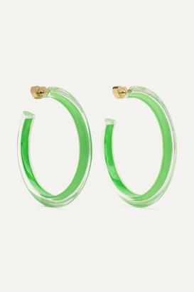 Alison Lou Medium Jelly Lucite And Enamel Hoop Earrings - Gold