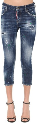 DSQUARED2 Cropped Cool Girl Paint Wash Denim Jeans