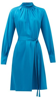 Diane von Furstenberg Veda Belted Satin Dress - Womens - Blue