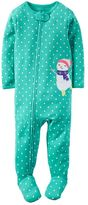 Carter's Toddler Girl Print Embroidered Footed Pajamas