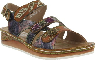 Spring Step L'Artiste by Leather Colorblock Sandal - Sumacah