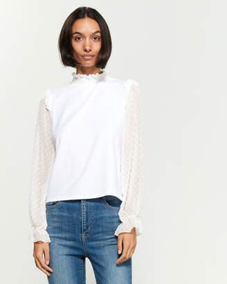 Necessary Objects Contrast Swiss Dot Long Sleeve Blouse
