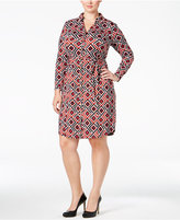 INC International Concepts Plus Size Geo-Printed Shirtdress, Only at Macy's