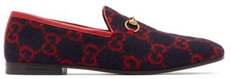Gucci Jordaan Gg Wool Loafers - Navy