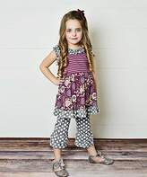 Plum & Gray Floral A-Line Dress & Leggings - Girls