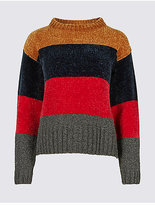 M&S Collection Chenille Colour Block Round Neck Jumper