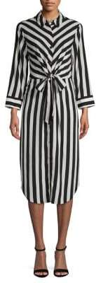 Vince Camuto Long-Sleeve Striped Button-Front Dress