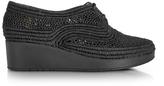 Robert Clergerie Vicole Black Woven Raffia Platform Derby Shoes
