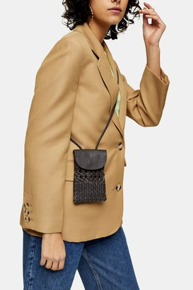 Topshop Leather Woven Pouch Bag