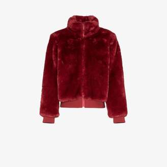 Sweaty Betty Model faux fur bomber jacket