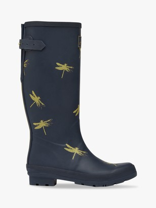 Joules Dragonfly Print Waterproof Tall Wellington Boots, Navy