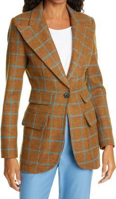 Smythe Birkin Windowpane Check Wool Blazer