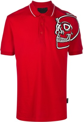 Philipp Plein Outline Skull Polo Shirt