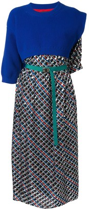Kolor Sweater-Panelled Printed Dress